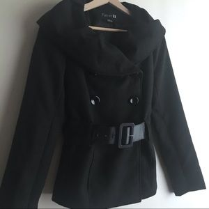 Forever 21 Black Double Breasted Belt Peacoat Sz M